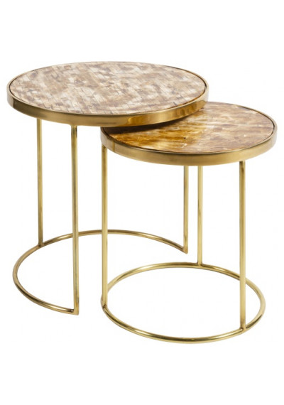 Round Brown Bone Inlay Top Gold Base Nesting Side Accent Tables