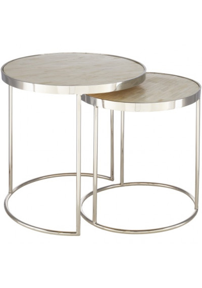 Round Beige Bone Inlay Top Silver Base Nesting Side Accent Tables
