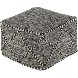 Large Square Black & White Leather Square Blanket Stitch Pouf