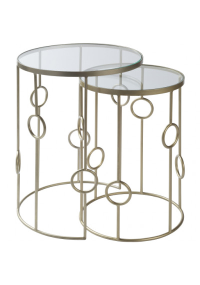 Gold Metal Glass Circle Design Nesting Side Accent Table