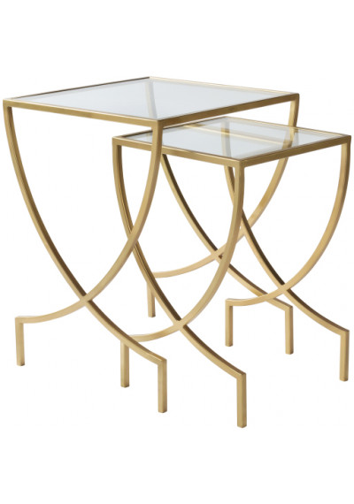 Gold Metal Glass Nesting Side Accent Table