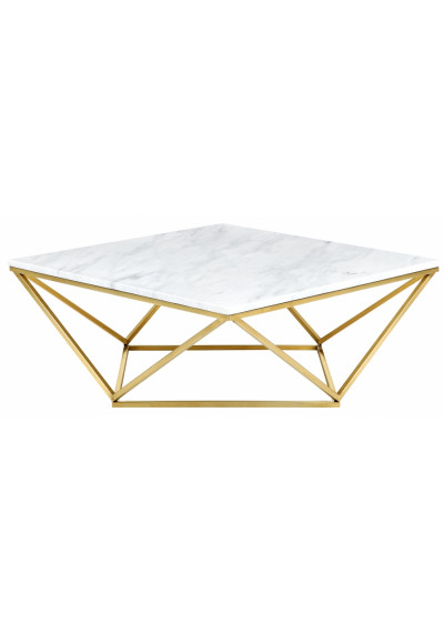 Square Real White Marble Geometric Golden Base Coffee Table