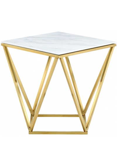 Square White Marble Geometric Golden Base Side Table