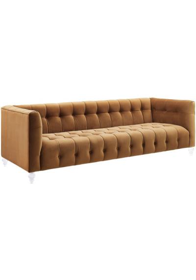 Caramel Velvet Button Tufted Sofa Acrylic Legs