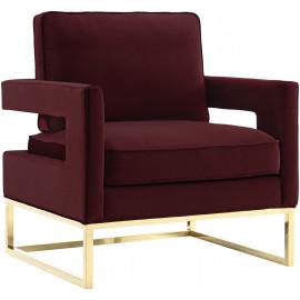 Modern Rich Maroon Velvet Gold Legs Lounge Chair