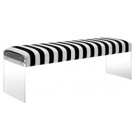 Black & White Striped Velvet Bench Flat Acrylic Legs