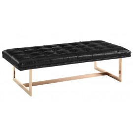 Black Leather Bench Gold Legs