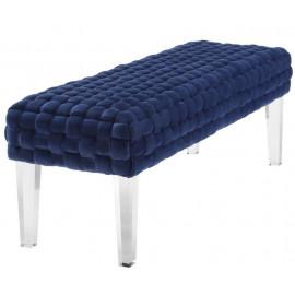 Navy Blue Woven Velvet Bench Acrylic Legs