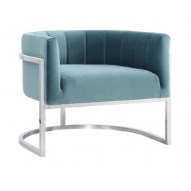 Light Blue Velvet Contemporary Modern Silver Frame Chair