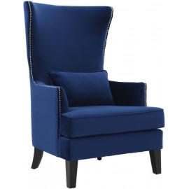 Blue Velvet Black Legs Silver Nail Head Accent Wing Chair