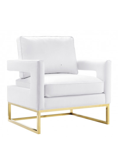 Modern Sophisticated White Leather Gold Legs Lounge Chair