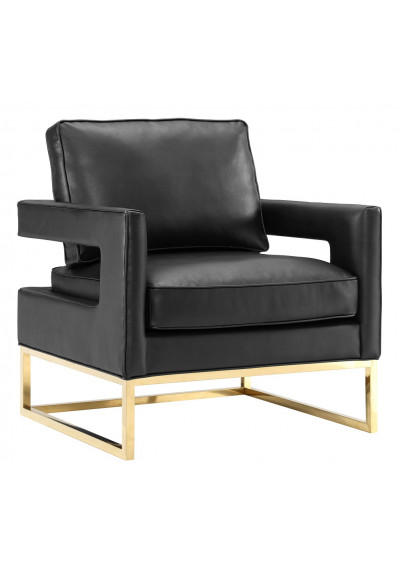 Modern Sophisticated Black Leather Gold Legs Lounge Chair