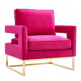 Modern Hot Pink Fuschia Velvet Gold Legs Lounge Chair