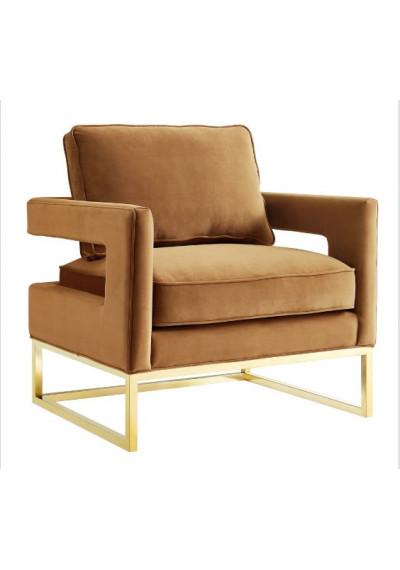 Modern Rich Caramel Velvet Gold Legs Lounge Chair