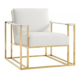 Cream Ostrich Print Gold Frame Lounge Chair