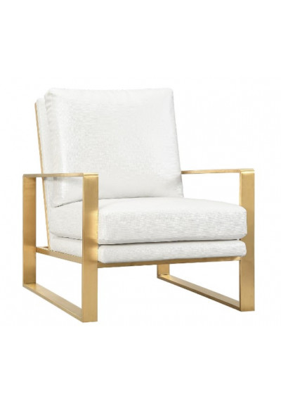 Textured Pearl Color Gold Frame Lounge Chair
