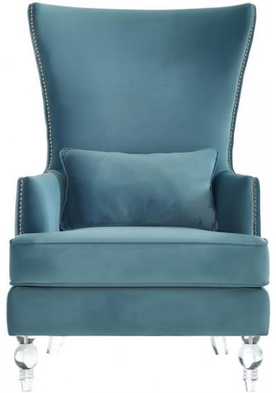 Ocean Blue Velvet Acrylic Legs Nail Head Accent Wing Chair