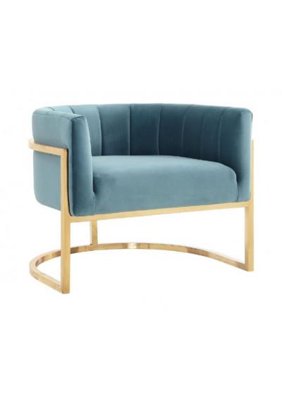 Light Blue Velvet Contemporary Modern Gold Frame Chair