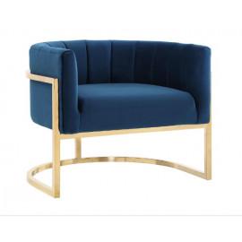 Blue Velvet Contemporary Modern Gold Frame Chair