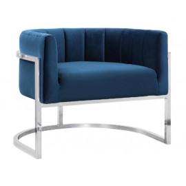 Blue Velvet Contemporary Modern Silver Frame Chair