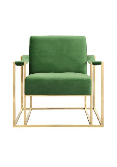 Luscious Green Velvet Gold Frame Lounge Chair