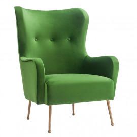 Green Velvet Classic Wing Chair Gold Legs
