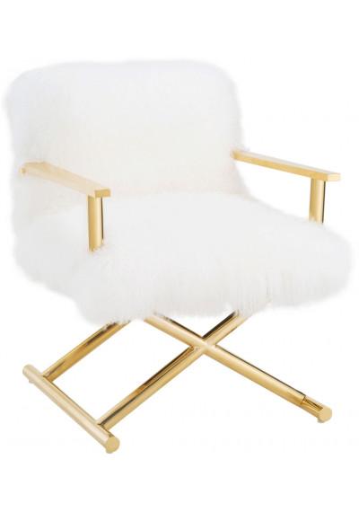 Fluffy White Sheepskin Director Chair