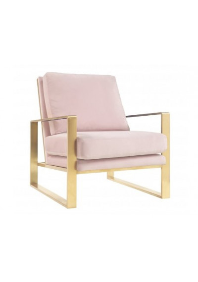 Mauve Pink Blush Velvet Gold Frame Lounge Chair