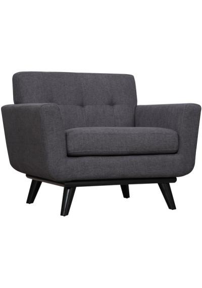 Grey Linen Mid-Century Chair