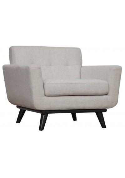 Cream Linen Mid-Century Chair