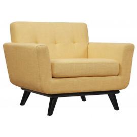 Soft Yellow Linen Mid-Century Chair