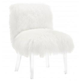 Fluffy White Sheepskin Chair Acrylic Legs