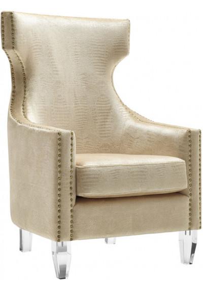 Gold Alligator Velvet Gold Nail Head Acrylic Leg Wing Chair
