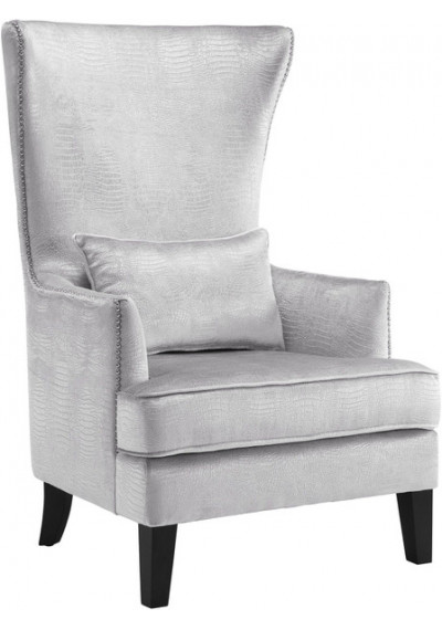 Silver Alligator Velvet Silver Nail Head Accent Wing Chair