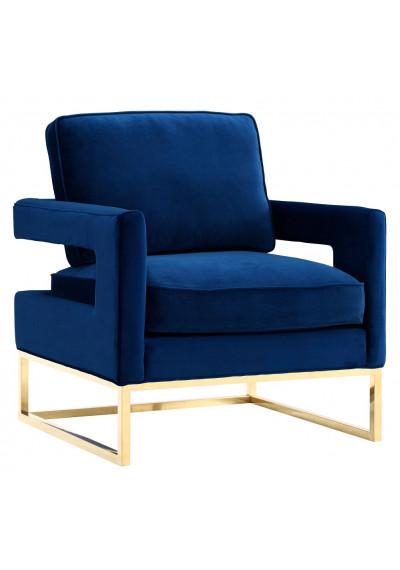 Modern Navy Blue Velvet Gold Legs Lounge Chair