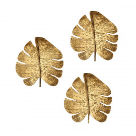 3 Gold Metal Leaves Wall Decor