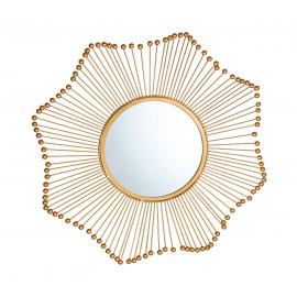 Gold Beaded Starburst Design Wall Mirror