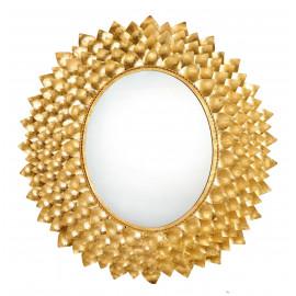Gold Metal Sun Flower Petal Design Wall Mirror