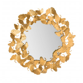Gold Metal Butterfly Frame Wall Mirror
