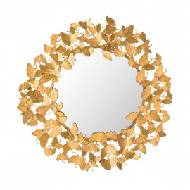 Gold Metal Butterfly Frame Wall Mirror Large