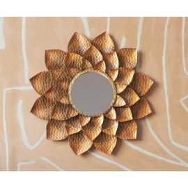 Antiqued Gold Metal Petal Layered Flower Wall Mirror