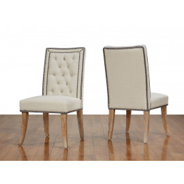 Beige Linen Nailhead Dining Chairs 2