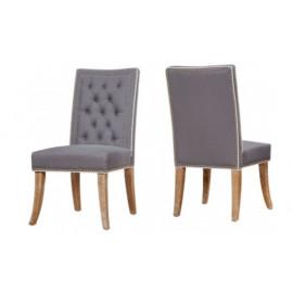 Grey Linen Nailhead Dining Chairs 2