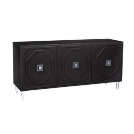 Black Lacquer Acrylic Leg Buffet Sideboard