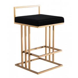 Gold & Black Velvet Squared Line Counter Bar Stool