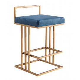 Gold & Blue Slub Velvet Squared Line Counter Bar Stool