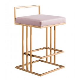 Gold & Blush Pink Velvet Squared Line Counter Bar Stool