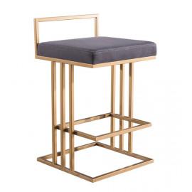 Gold & Grey Slub Velvet Squared Line Counter Bar Stool