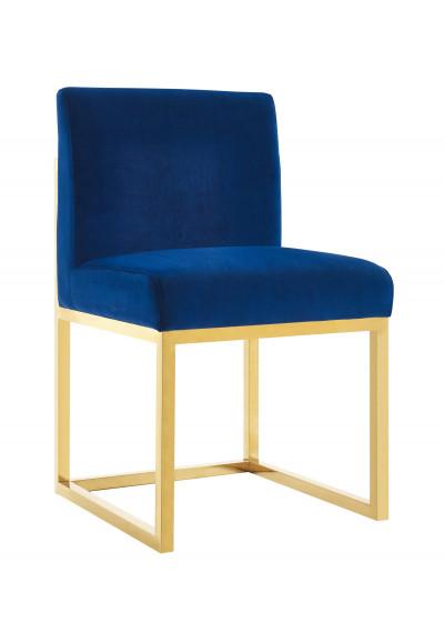 Royal Blue Velvet Chair Gold Metal Legs