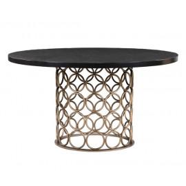 Handmade Dark Wood Round Dining Table Brass Circles Design Base